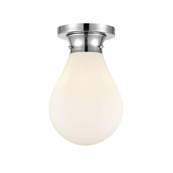 Genesis Polished Chrome Eight-Inch One-Light Flush Mount with White Glass Shade, image 1