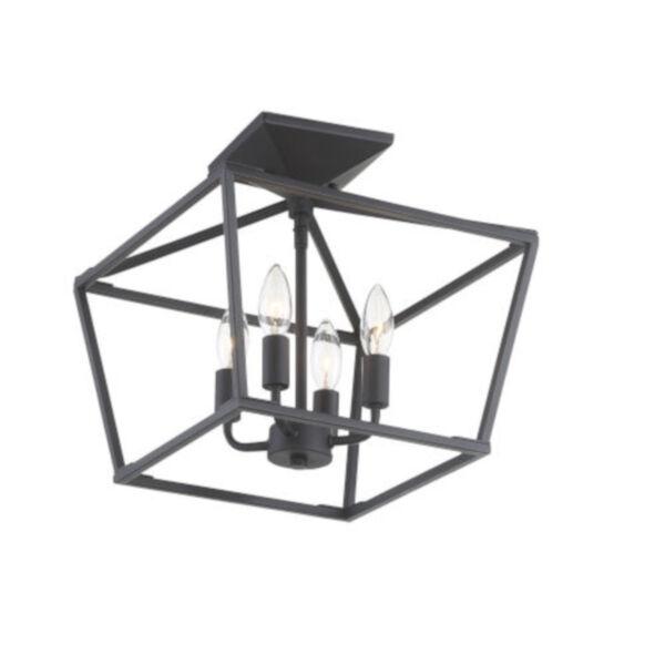 Kenwood Matte Black Four-Light Semi-Flush Mount, image 3