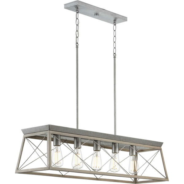 Briarwood Galvanized and Bleached Oak Five-Light Linear Island Chandelier, image 3
