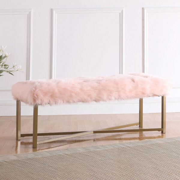 Faux Fur Rectangle Bench - Pink, image 2