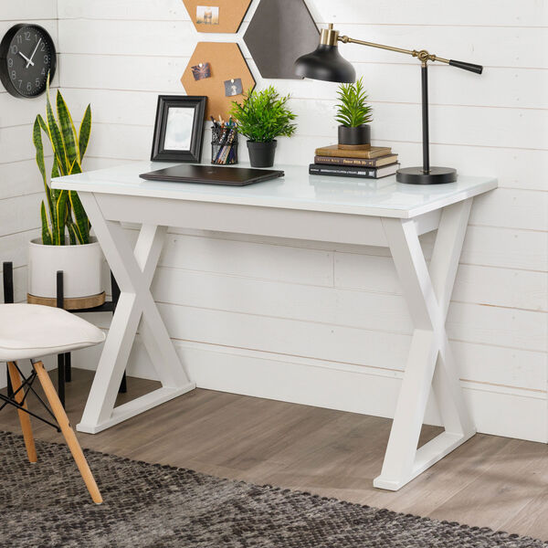 Home Office 48-inch White Glass Computer Desk, image 1
