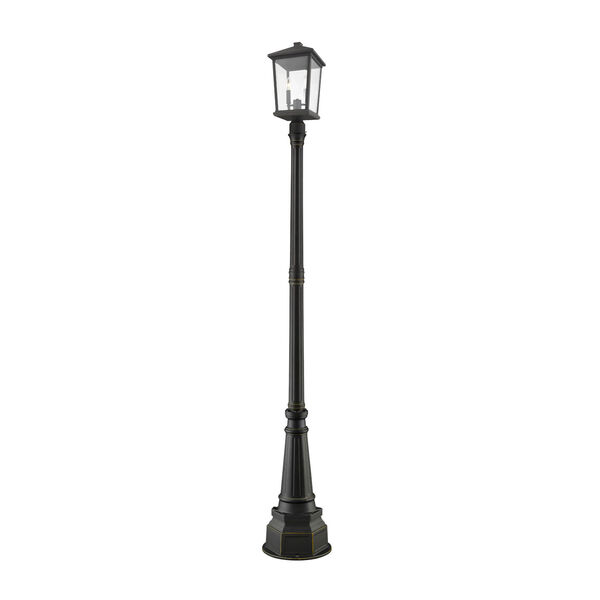 Beacon Oil Rubbed Bronze Three-Light Outdoor Post Mounted Fixture With Transparent Beveled Glass, image 1