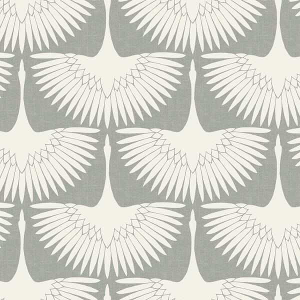 Genevieve Gorder Feather Flock Chalk Removable Wallpaper, image 1
