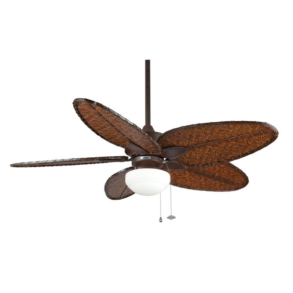 Windepointe Rust Ceiling Fan with Narrow Oval Antique Bamboo Blades, image 4