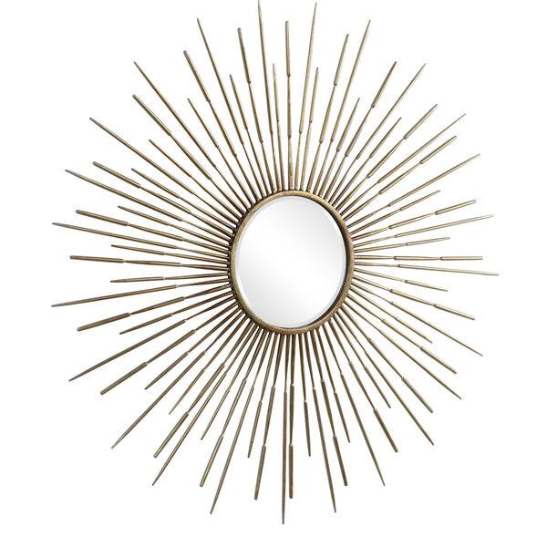 Golden Antiqued Gold Leaf Rays Starburst Mirror, image 3