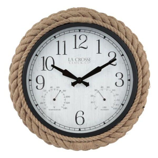 Brown Rope Case Outdoor Wall Clock, image 1