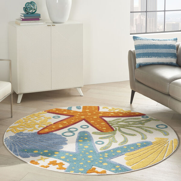 Aloha Orange and Blue 4 Ft. x 4 Ft. Round Indoor/Outdoor Area Rug, image 1