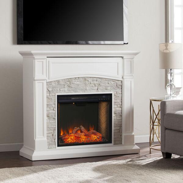Seneca Crisp White Smart Media Electric Fireplace, image 1