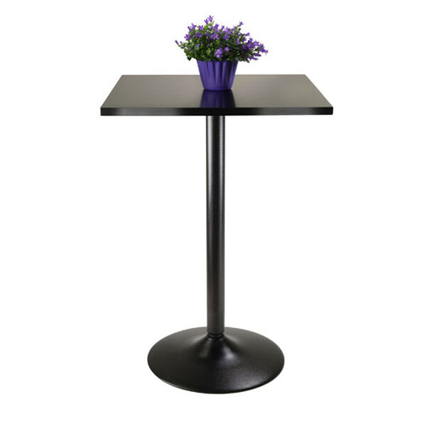 Obsidian Pub Table Square Black MDF Top with Black leg and base, image 2