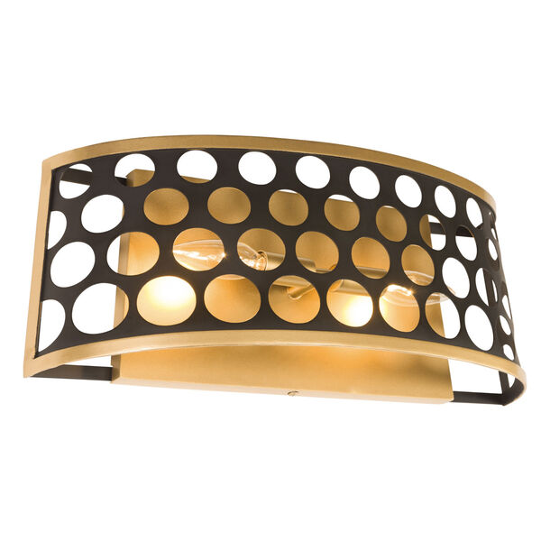 Bailey Matte Black French Gold Two-Light Bath Vanity, image 2