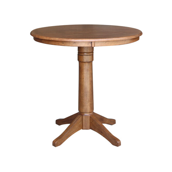 Distressed Oak 36-Inch Round Pedestal Gathering Table with Two X-Back Counter Height Stool, Set of Three, image 3