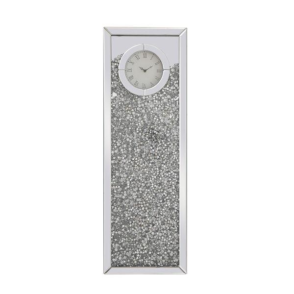 Modern Mirrored 35-Inch Crystal Wall Clock, image 2