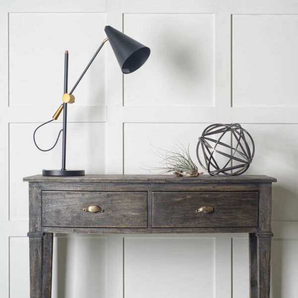 Fragon II Black and Gold One-Light Adjustable Table Lamp, image 3