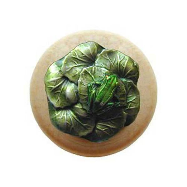 Natural Wood Leap Frog Knob with Hand Tinted Pewter, image 1