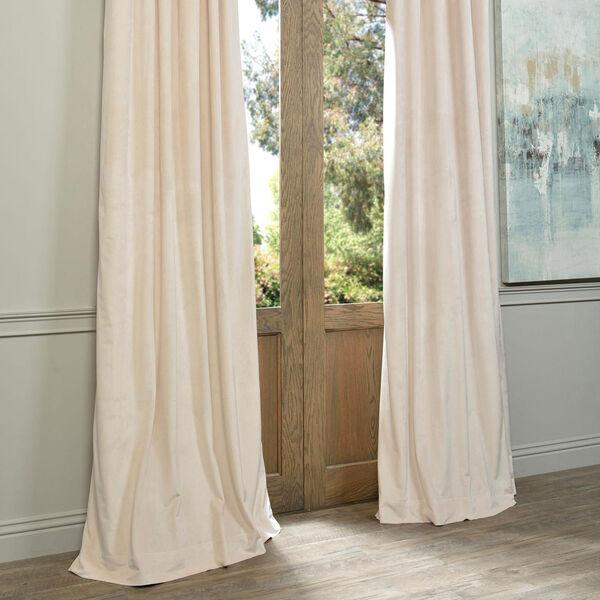 Alabaster Beige Blackout Velvet Pole Pocket Single Panel Curtain, 50 X 84, image 6