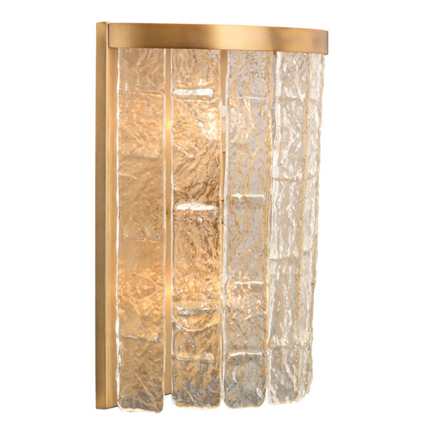 Waterfall Clear Glass with Antique Brass Two-Light Wall Sconce, image 2