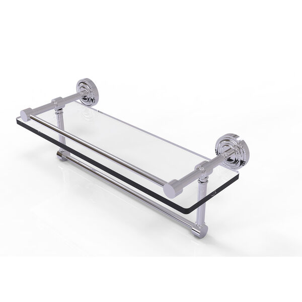 Dottingham 16 Inch Gallery Glass Shelf with Towel Bar, Polished Chrome, image 1