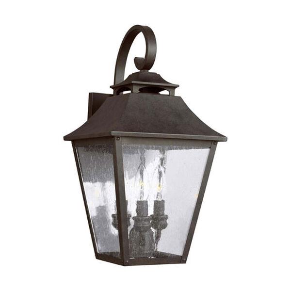 Sutton Black Three-Light Outdoor Wall Lantern, image 1