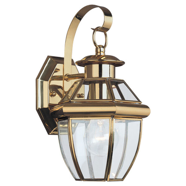 Curved Beveled Brass One-Light Outdoor Wall Mount, image 1