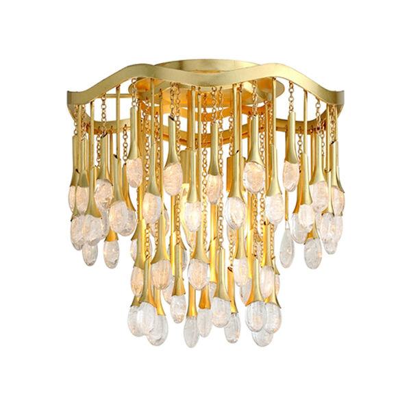 Kiara Gold Leaf Three-Light Semi-Flush Mount, image 1