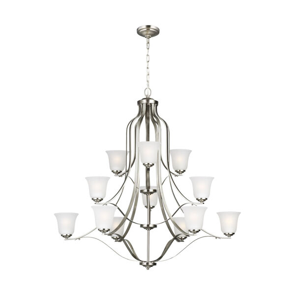 Emmons Brushed Nickel 12-Light Chandelier with Satin Etched Shade, image 1