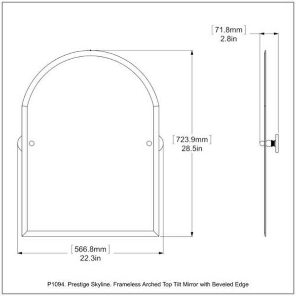 Prestige Skyline Collection Frameless Arched Top Tilt Mirror with Beveled Edge, image 2