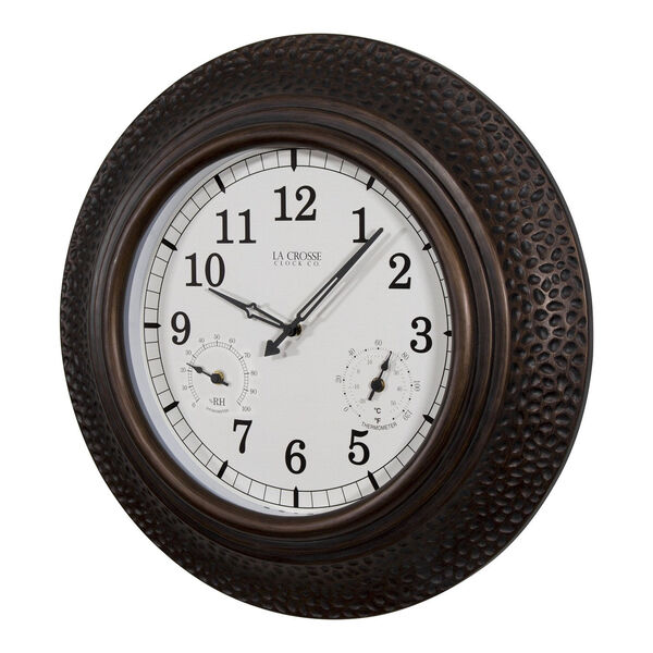 Oil Rubbed Bronze Poly Resin Outdoor Wall Clock, image 2
