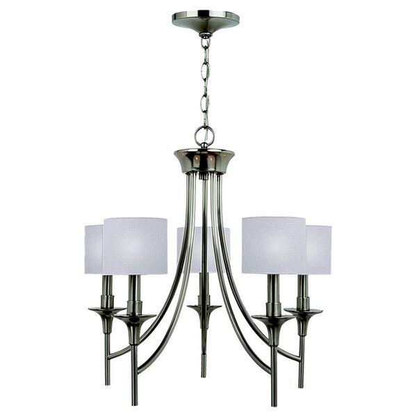 Stirling Five-Light Brushed Nickel Chandelier, image 1