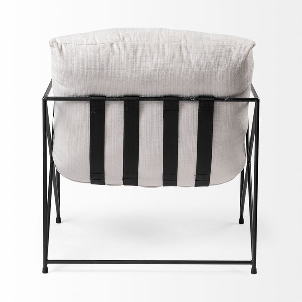 Leonidas Black and Cream Upholstered Padded Seat Arm Chair, image 5