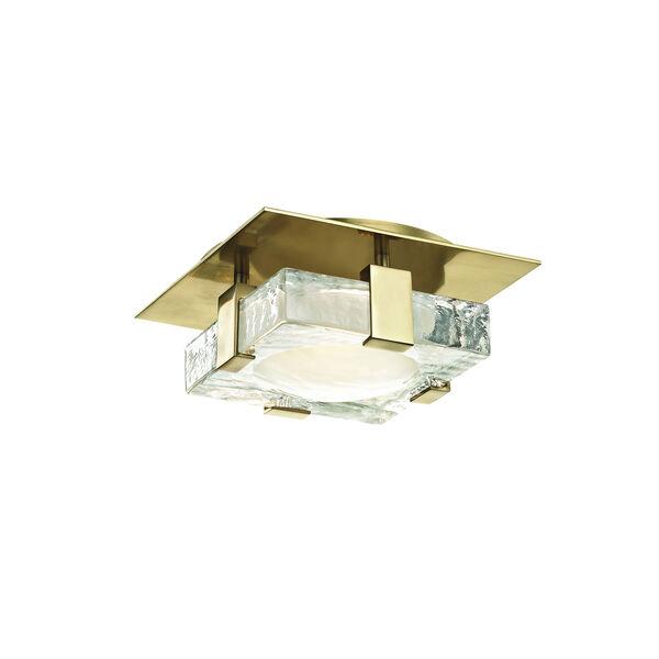 Bourne Aged Brass Eight-Inch LED Flush Mount, image 1