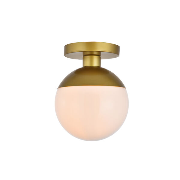 Eclipse Brass and Frosted White Eight-Inch One-Light Semi-Flush Mount, image 1