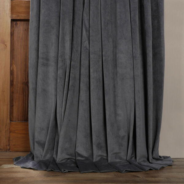 Natural Gray 120 x 100-Inch Doublewide Blackout Velvet Curtain, image 5