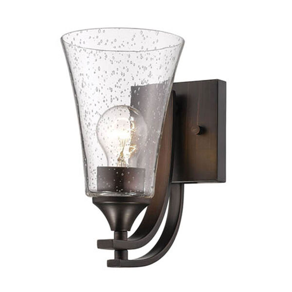 Natalie Rubbed Bronze One-Light Wall Sconce with Clear Seeded Glass, image 1