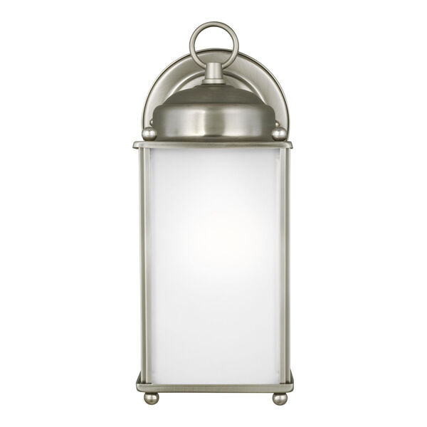 New Castle Antique Brushed Nickel One-Light Outdoor Wall Sconce with Satin Etched Shade, image 1