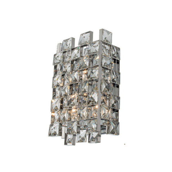 Piazze Polished Chrome Three-Light Wall Sconce with Firenze Crystal, image 1