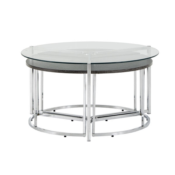Alexia Chrome Cocktail Table with Glass Top, image 2