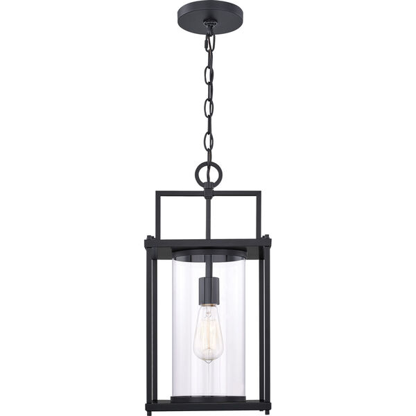 Garrett Matte Black 9-Inch One-Light Outdoor Hanging Lantern with Clear Glass, image 2