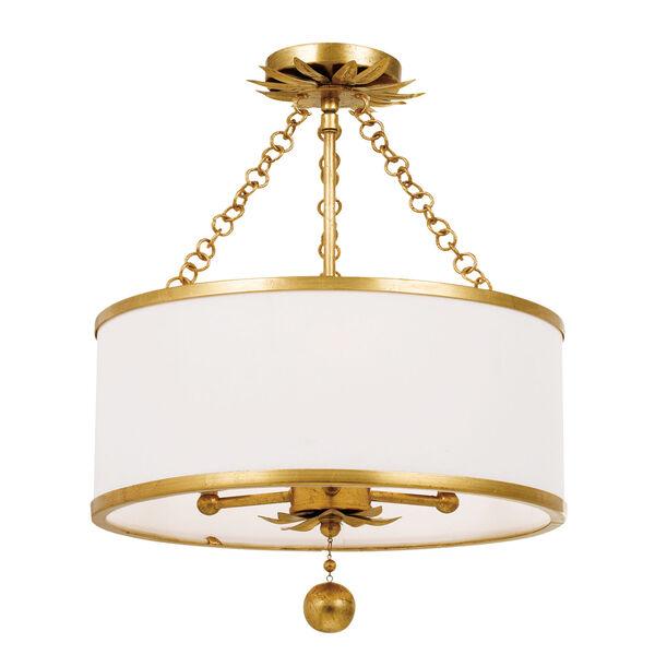 Broche Antique Gold Three-Light Semi-Flush Mount, image 1