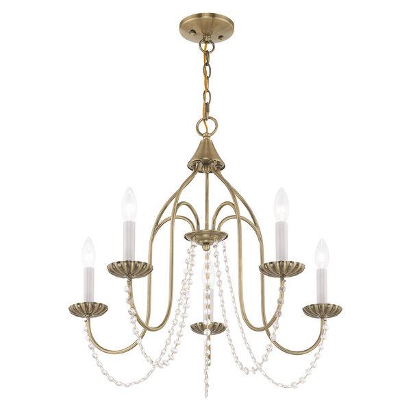 Alessia Antique Brass 24-Inch Five-Light Chandelier, image 4