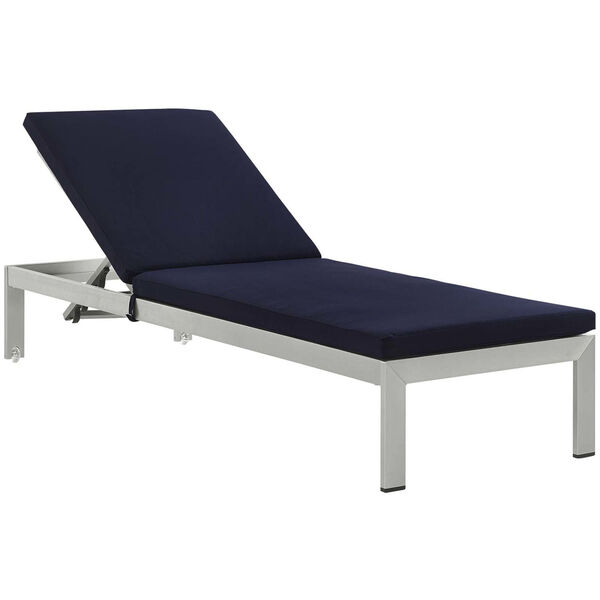 Darren Silver and Navy Outdoor Patio Chaise with Cushions, image 1