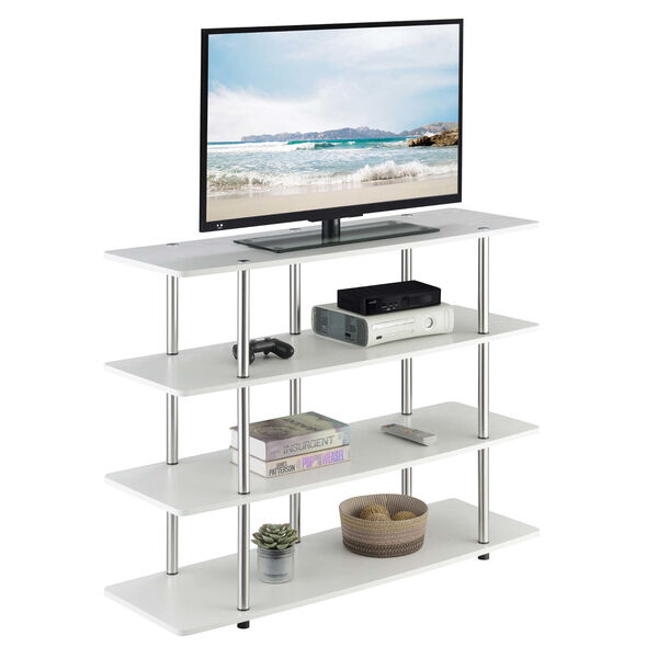 Designs2Go White Highboy Four-Tier TV Stand, image 3