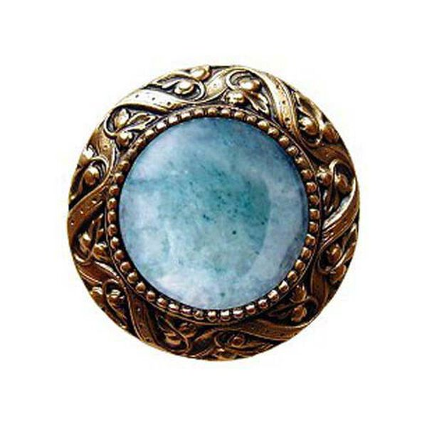 24 K Gold Plated Victorian Jeweled Knob with Green Aventurine Stone , image 1