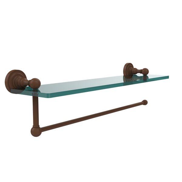 Dottingham Collection Paper Towel Holder with 22 Inch Glass Shelf, Antique Bronze, image 1