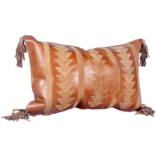 Tan 20 In. X 12 In. Arrow Design Leather Throw Pillow with Tassel, image 1