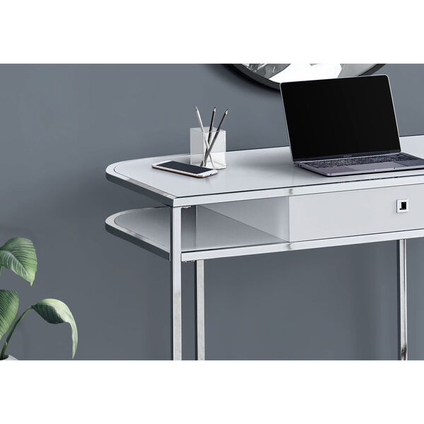 Glossy White and Silver Computer Desk, image 3