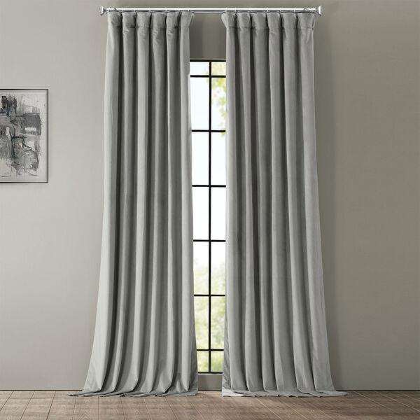 Signature Silver Grey Blackout Velvet Pole Pocket Single Panel Curtain, 50 X 108, image 2