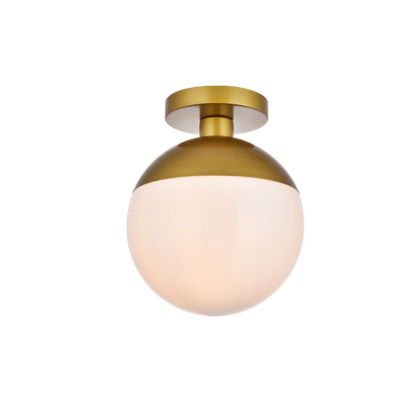 Eclipse Brass and Frosted White 10-Inch One-Light Semi-Flush Mount, image 3