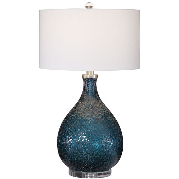 Eline Brushed Nickel and Blue Glass Table Lamp, image 5