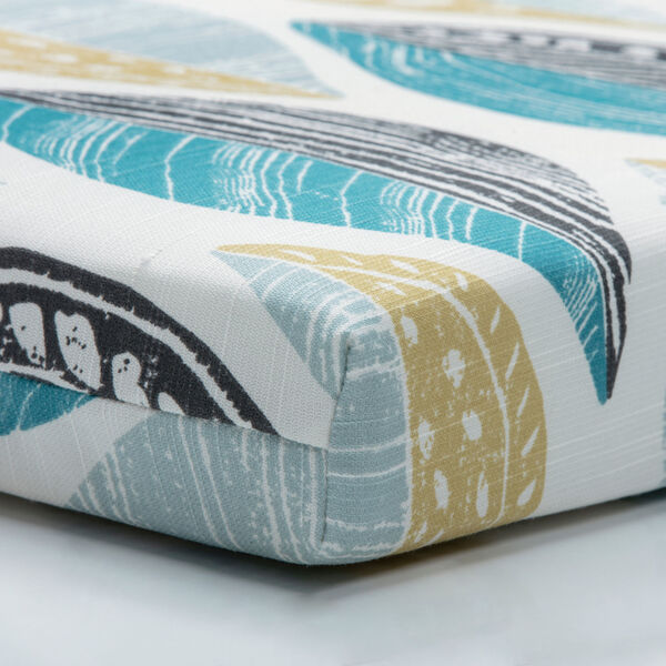 Leaf Block Teal and Citron Bench Cushion, image 2