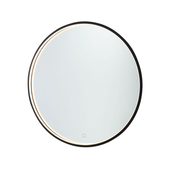 Reflections Matte Black 24-Inch LED Wall Mirror, image 1